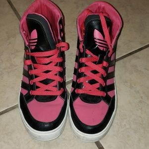Adidas pink and black sneakers